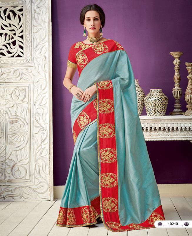 Embroidered Silk Saree (Sari) in Blue