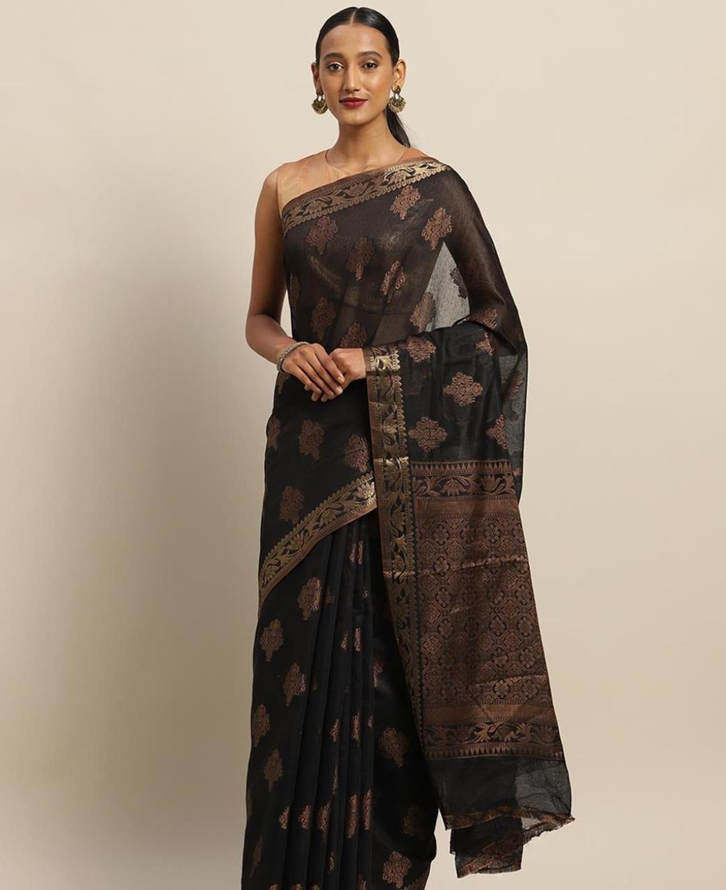 HandWorked Cotton Saree in Black