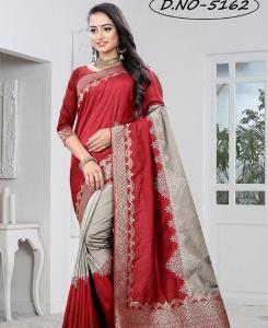 Silk Saree in RED  ,  GREY