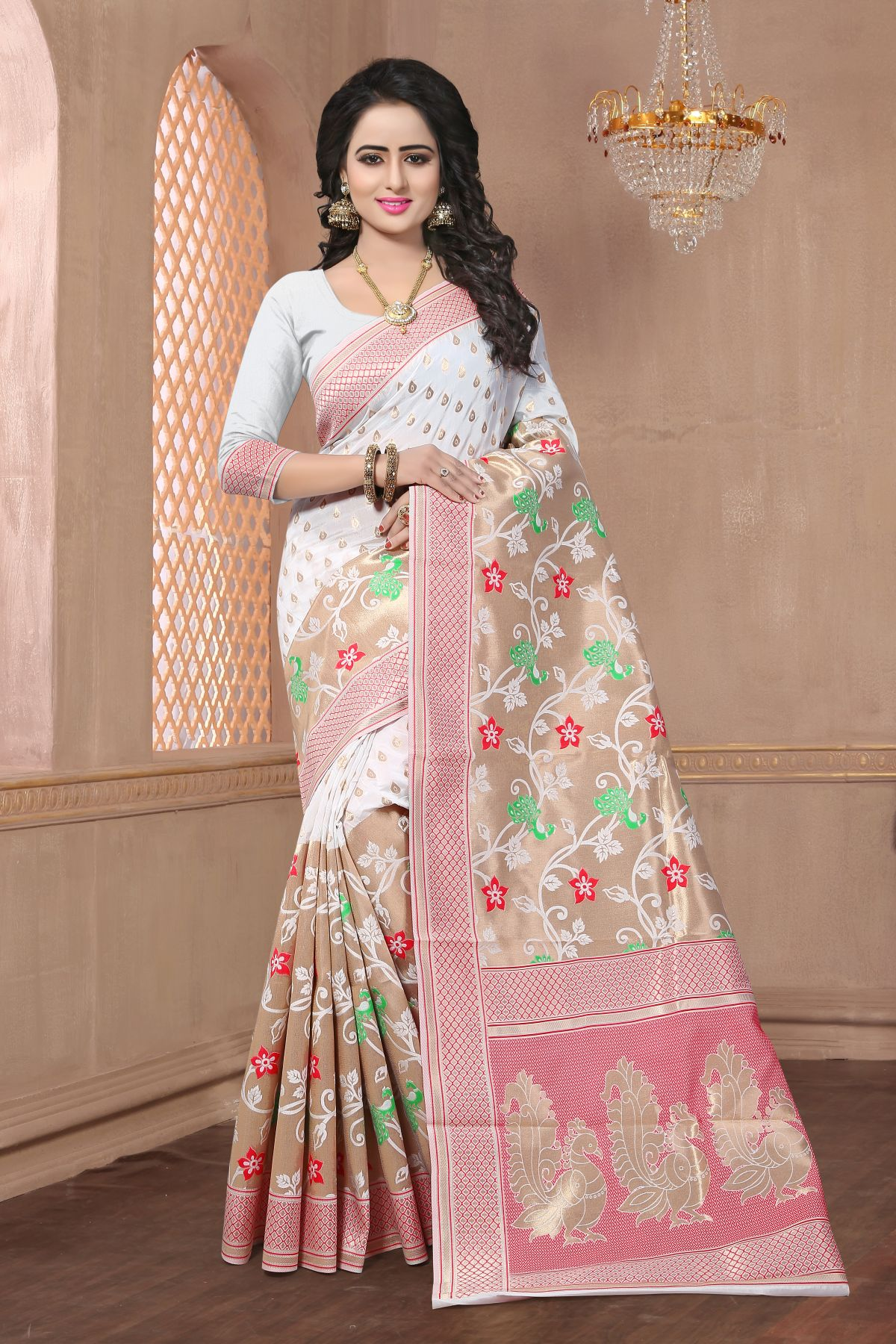 Woven Art Silk Saree in White