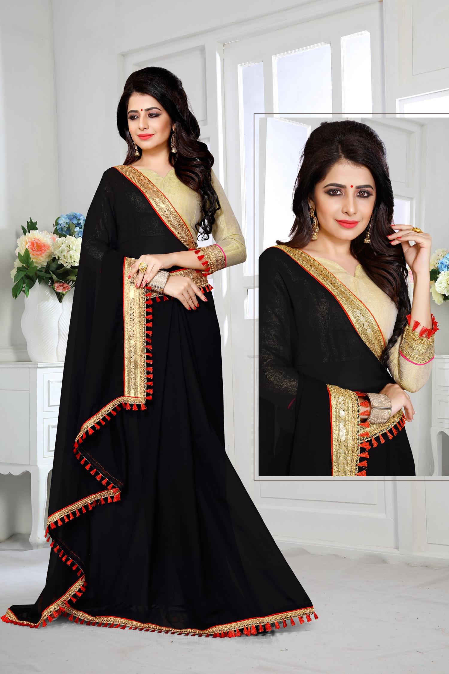 Lace Georgette Saree in Black