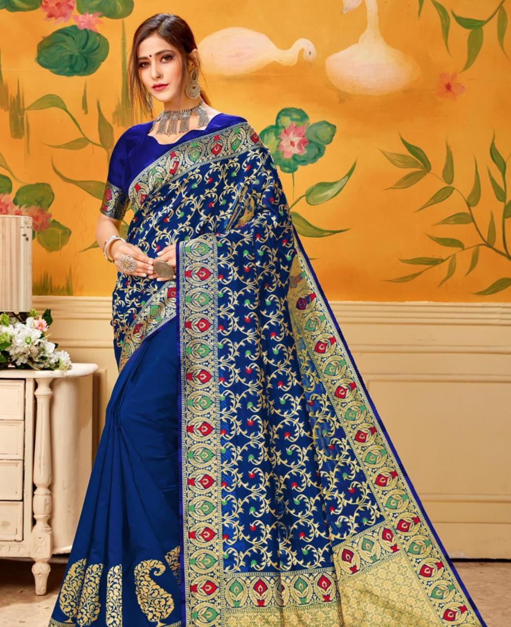 Woven Jacquard Saree in Blue