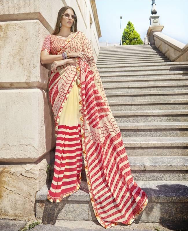 Printed Faux Georgette Saree (Sari) in OffWhite