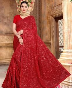 Sequins Georgette Saree in Red