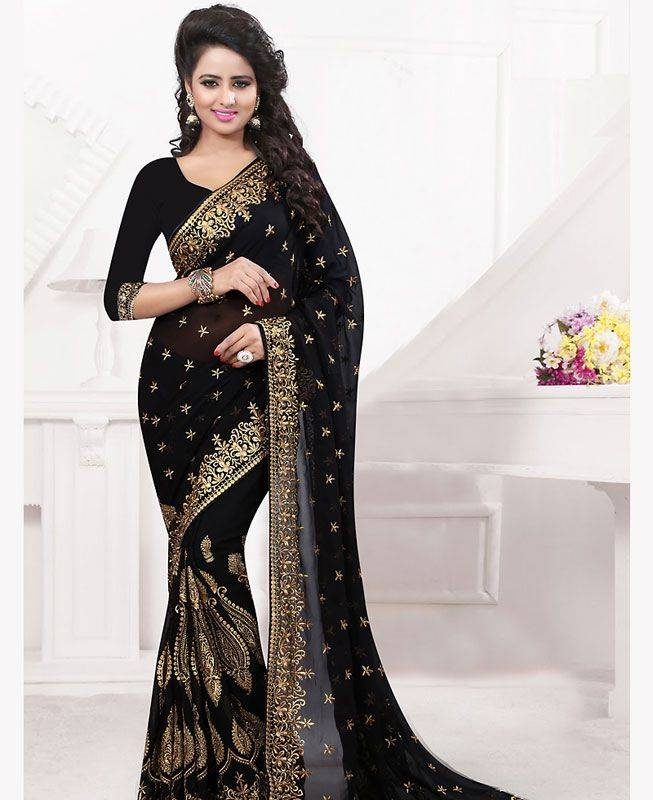 Butta Work Georgette Saree (Sari) in Black