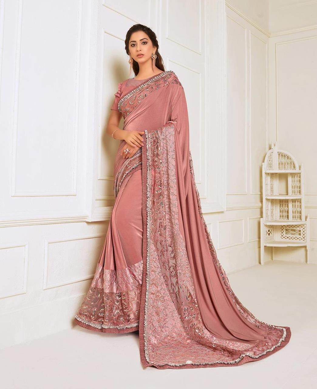 HandWorked Lycra Saree in Rose Pink