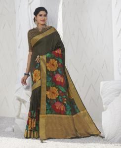 Printed Silk Saree in Khakhi