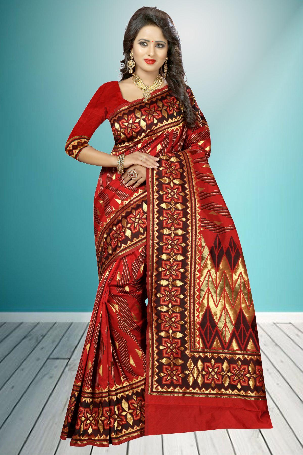 Jacquard Art Silk Saree in Maroon