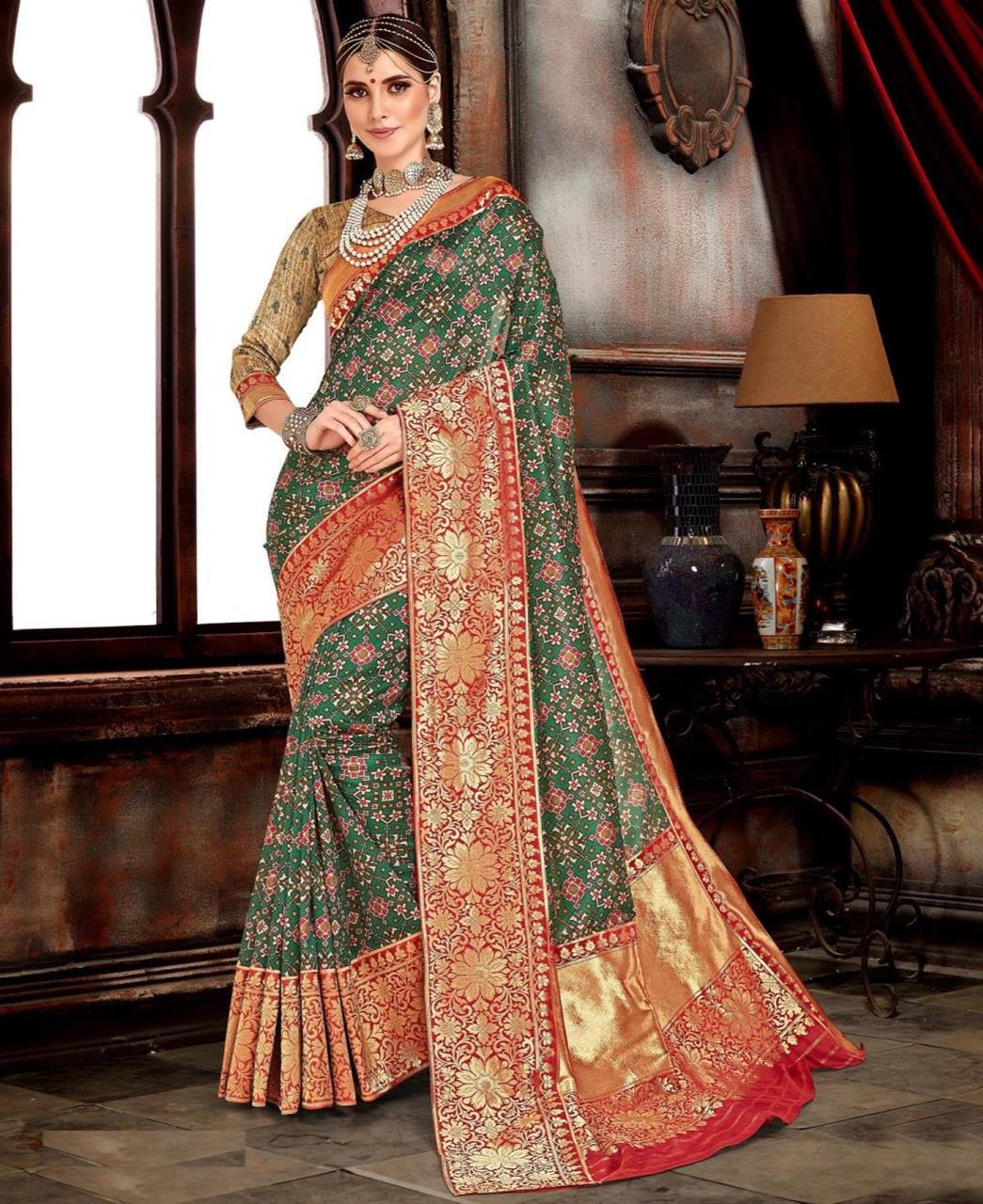 Woven Silk Saree(Sari) in Green