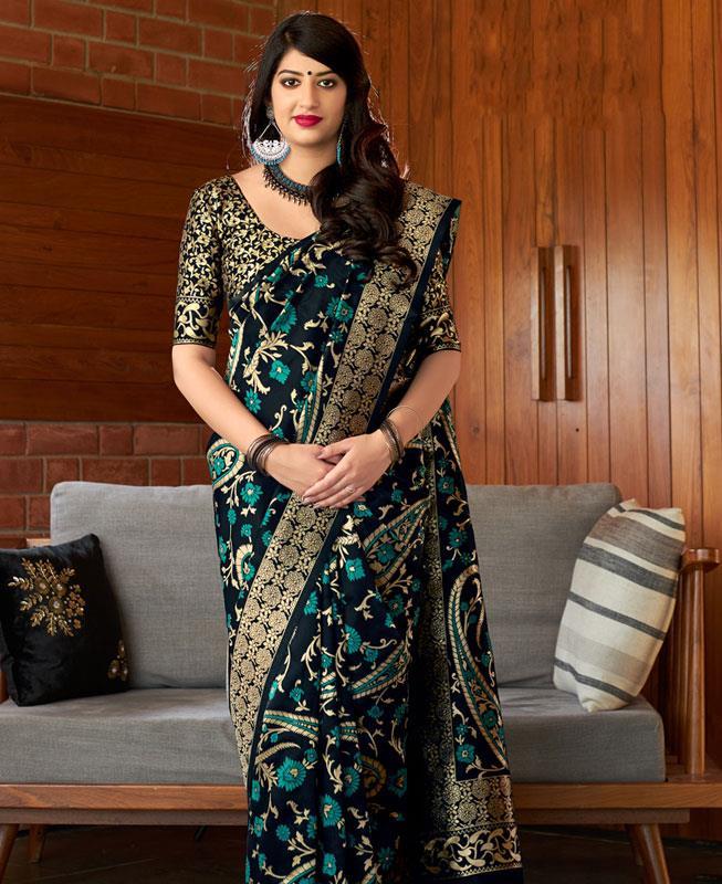 Woven Banarasi Silk Saree (Sari) in Black