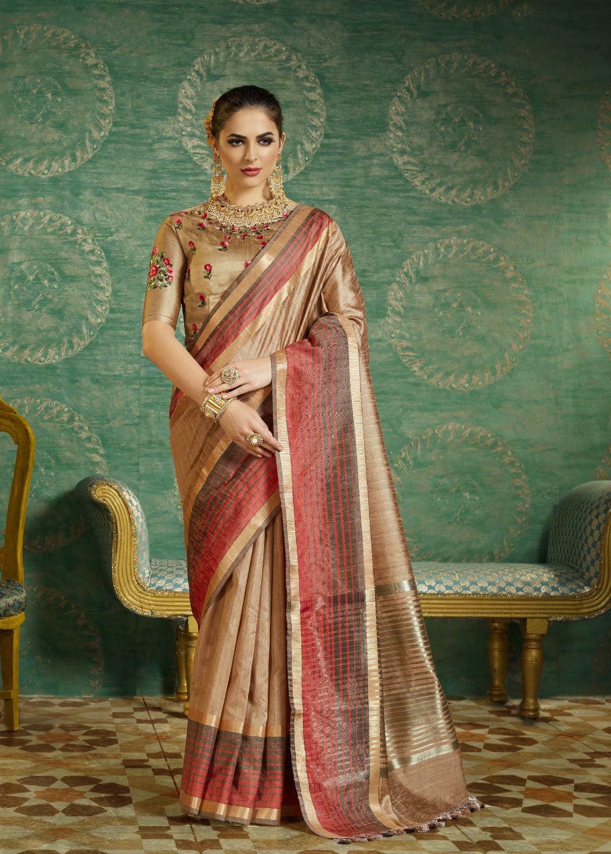 Thread Art Silk Saree in Beige