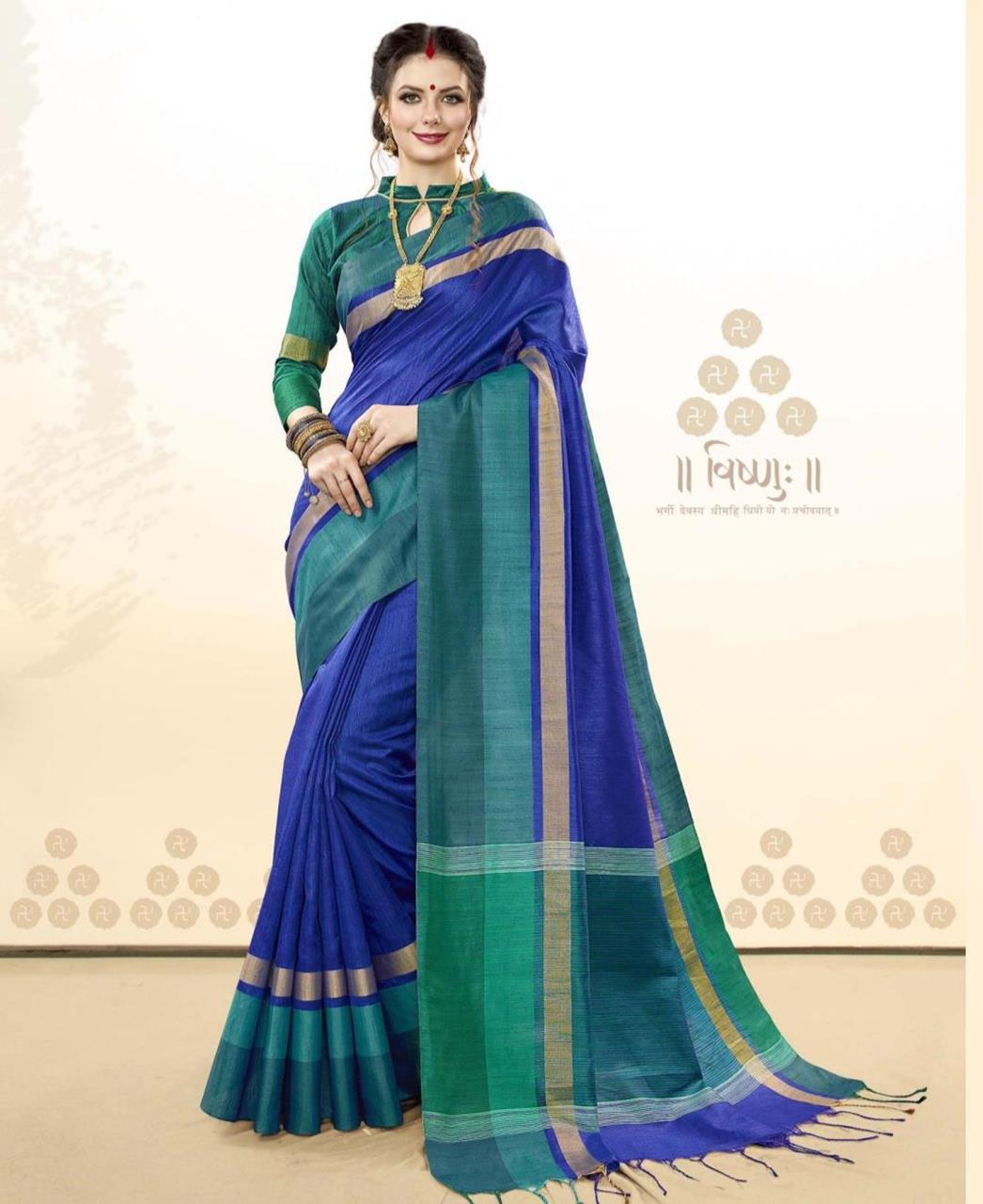 983e5a15aa Woven Silk Saree (Sari) in Blue