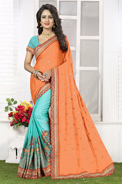 Embroidered Silk Saree (sari) in Orange