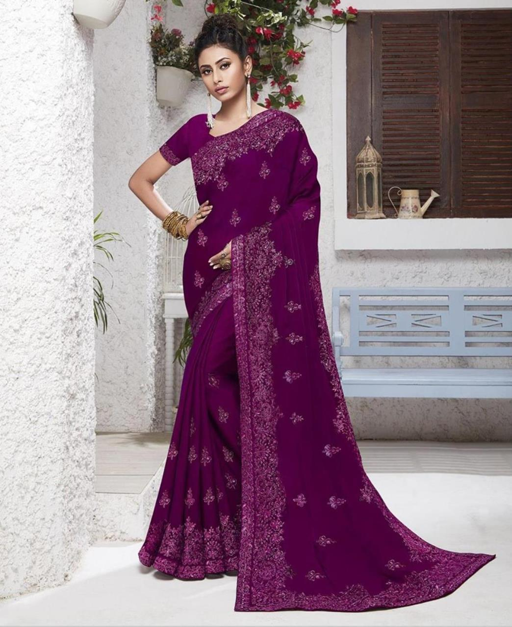 Resham Chiffon Saree in Purple