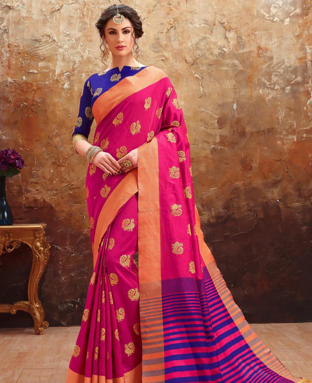 Printed Art Silk Saree (Sari) in Magenta