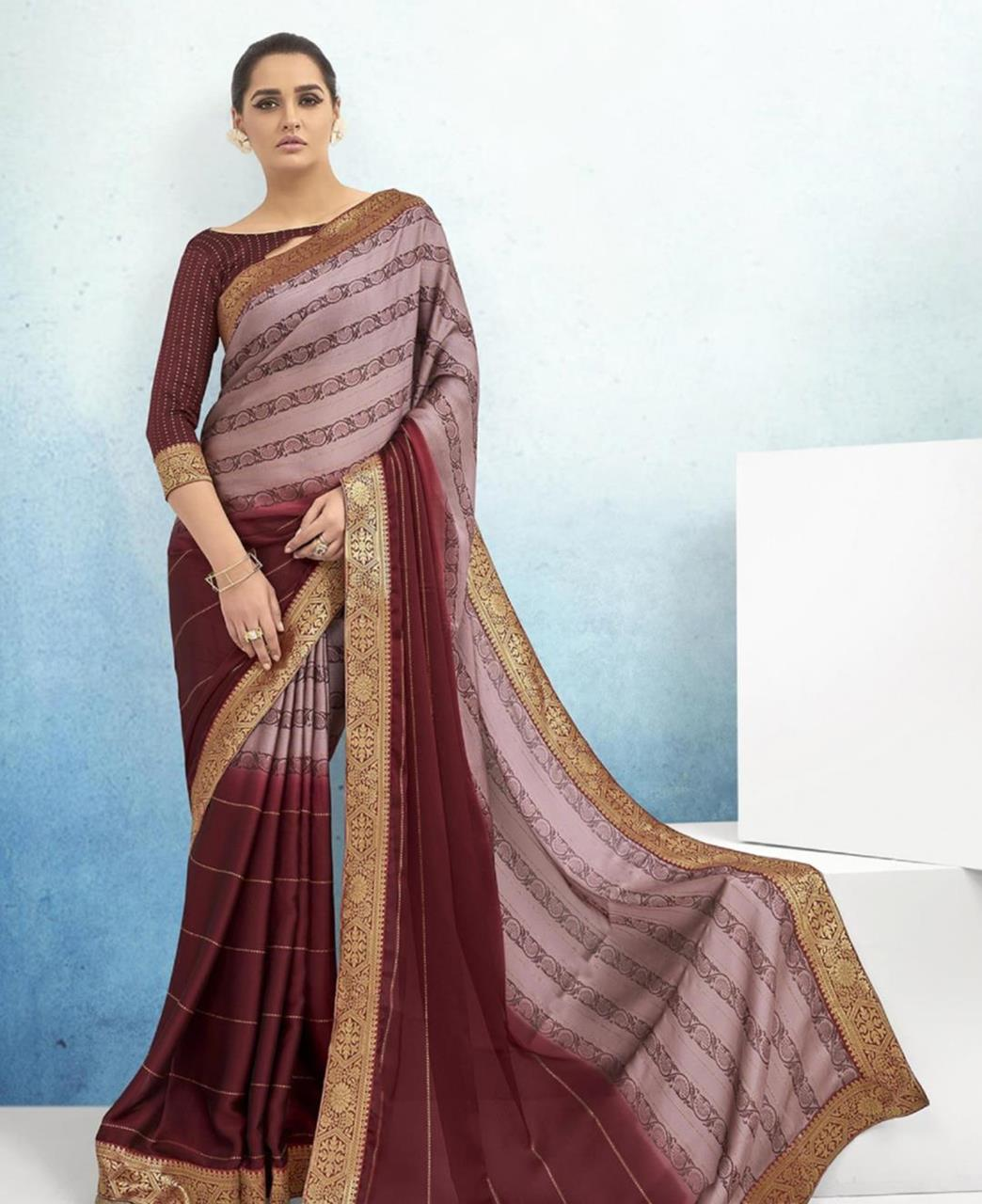 Lace Chiffon Saree in Maroon