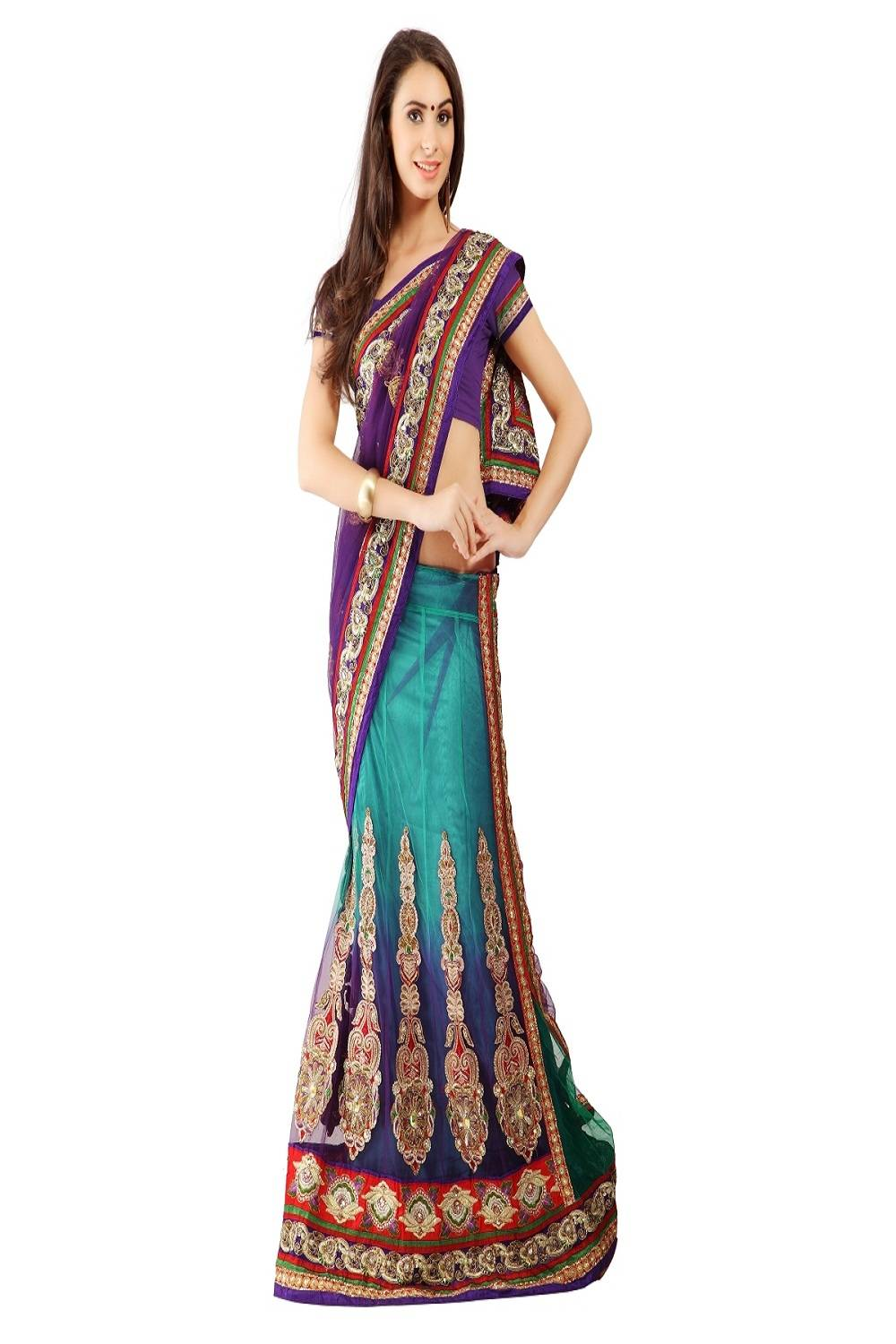 Embroidered Net Saree (Sari) in Purple