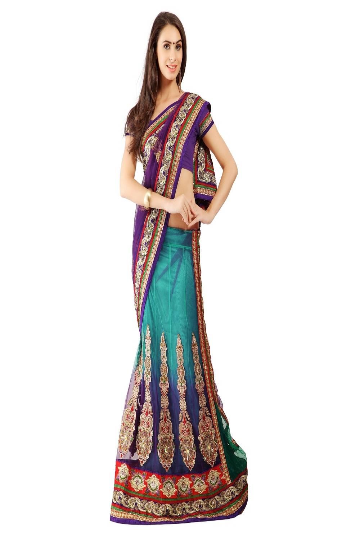 Embroidered Net Saree (Sari) in Purple