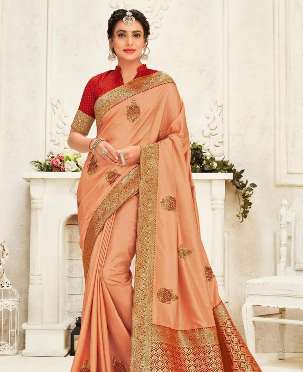 Stone Work Silk Saree in Peach