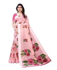 Printed Satin Saree in Pink