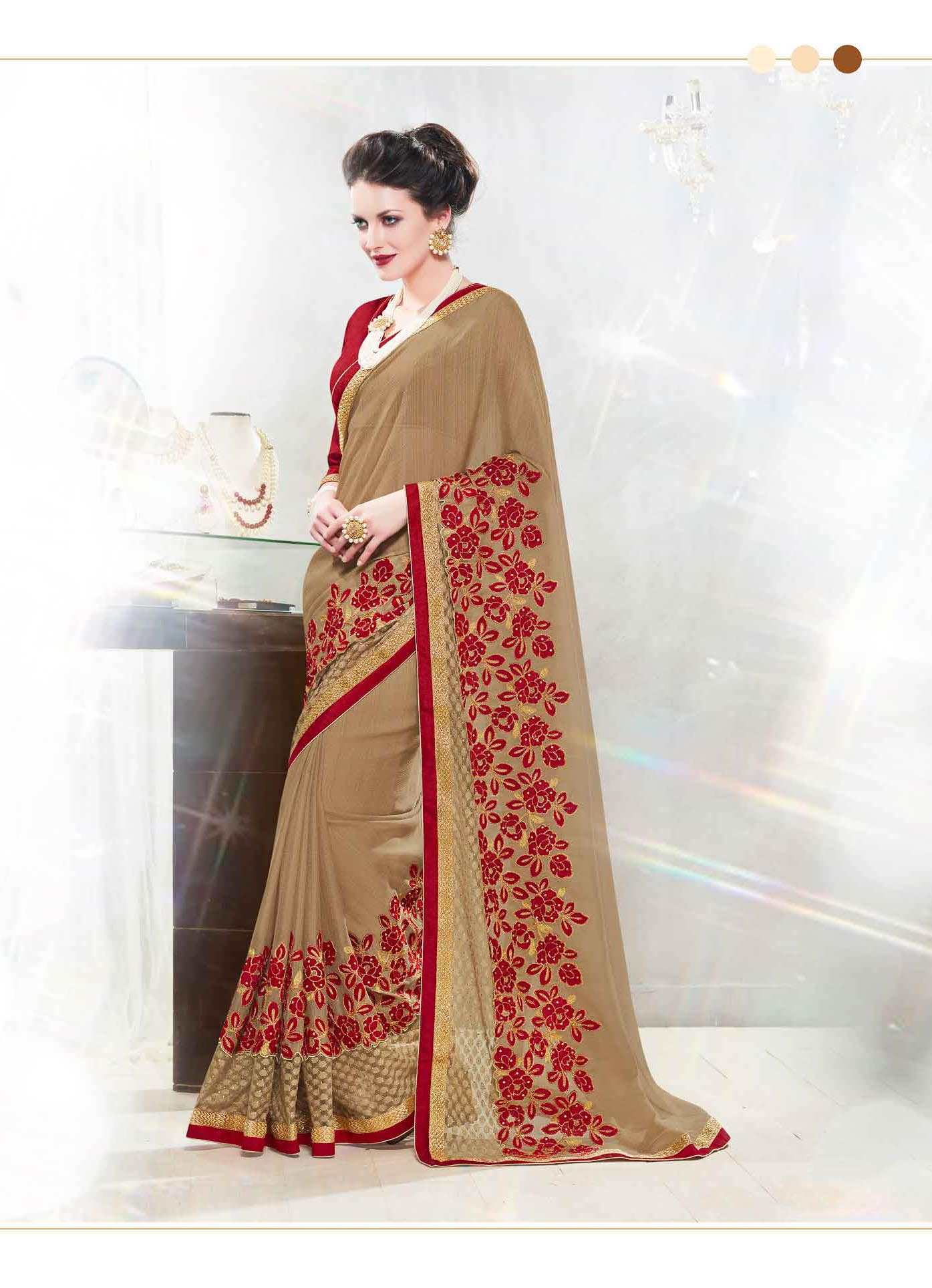 Embroidered Chiffon Saree (sari) in Beige
