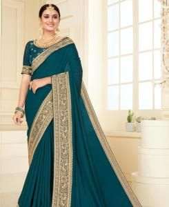 Lace Georgette Saree in Teal