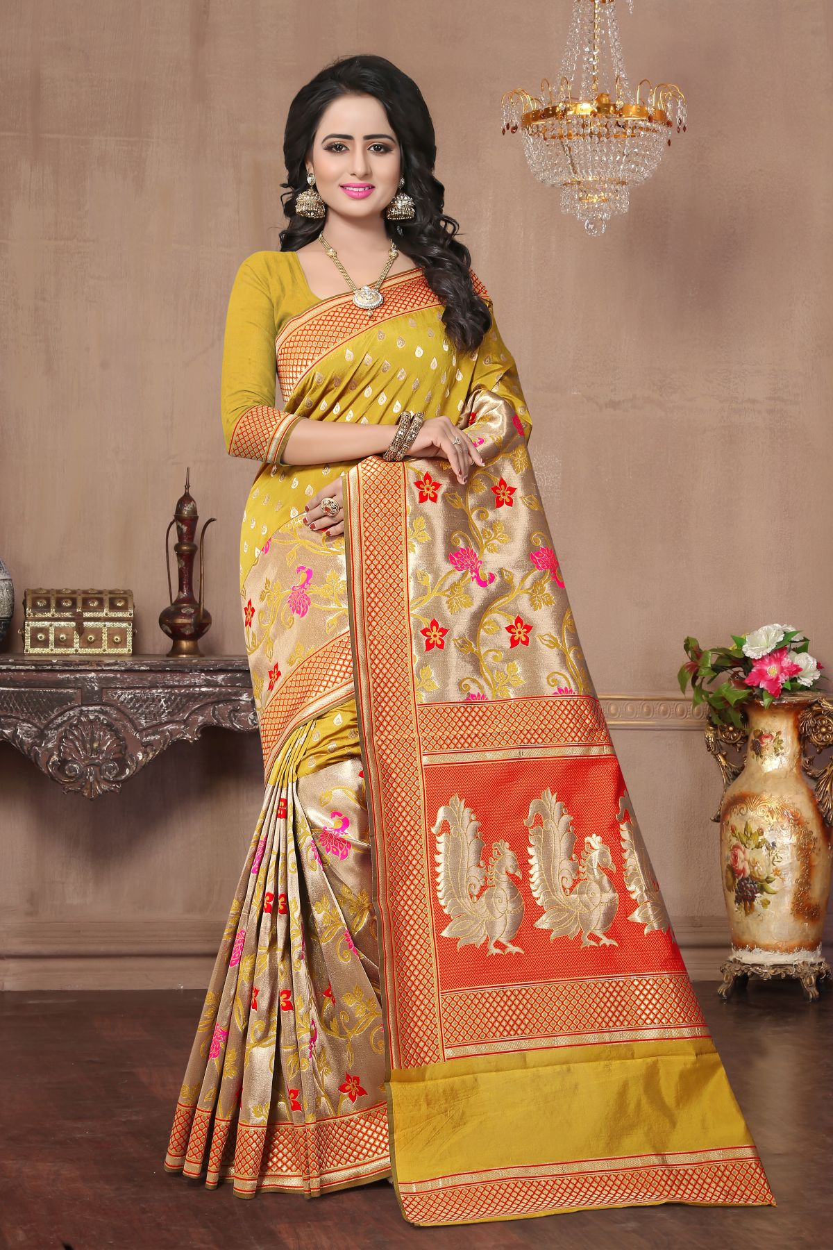 Woven Art Silk Saree in Yellow
