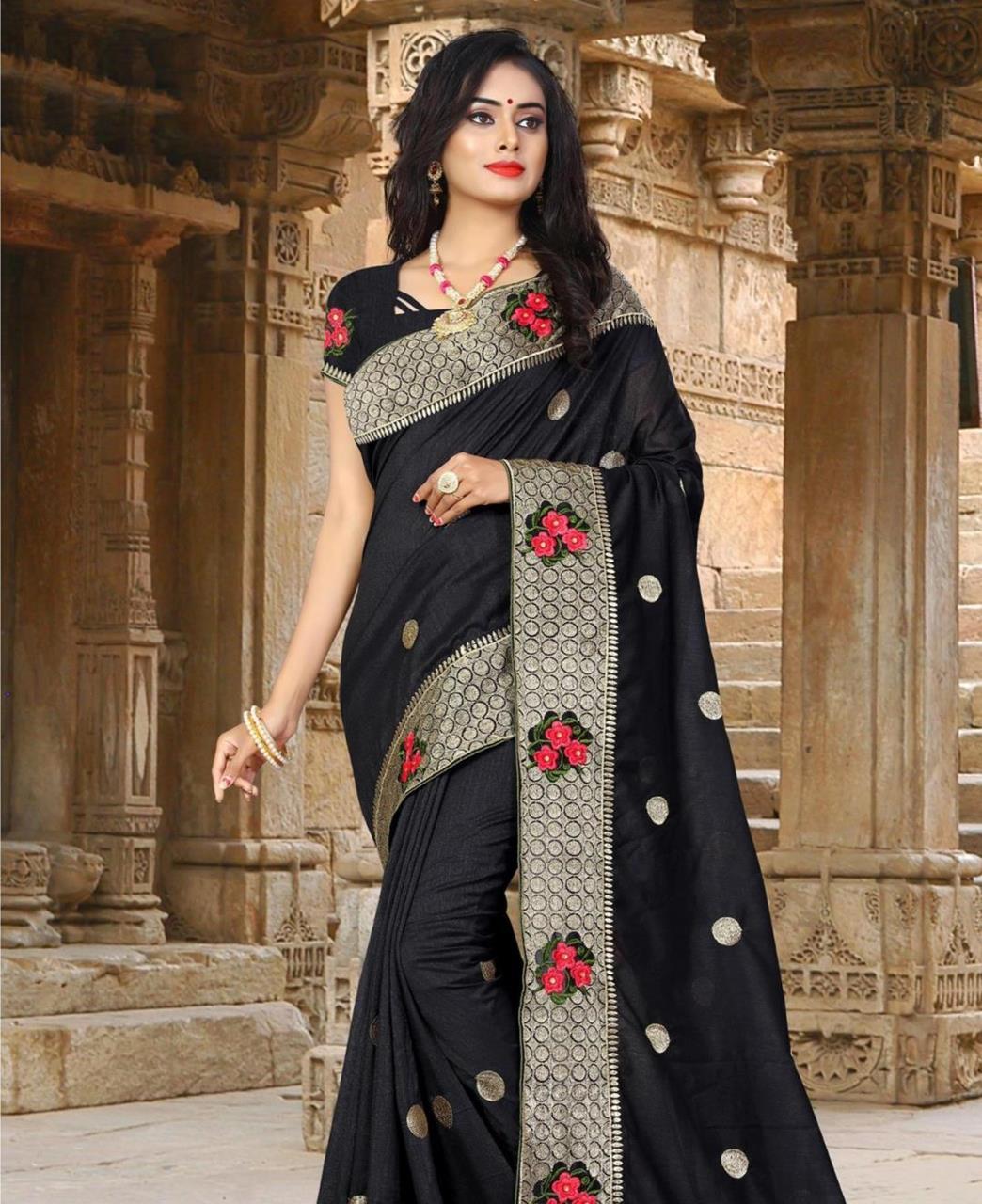 Resham Silk Saree (Sari) in Black