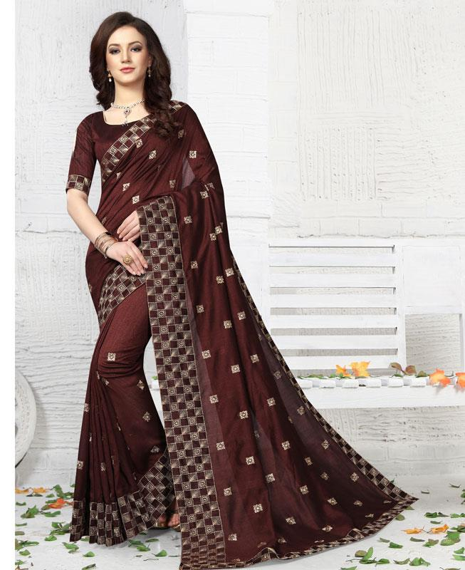 Embroidered Silk Saree (Sari) in Brown