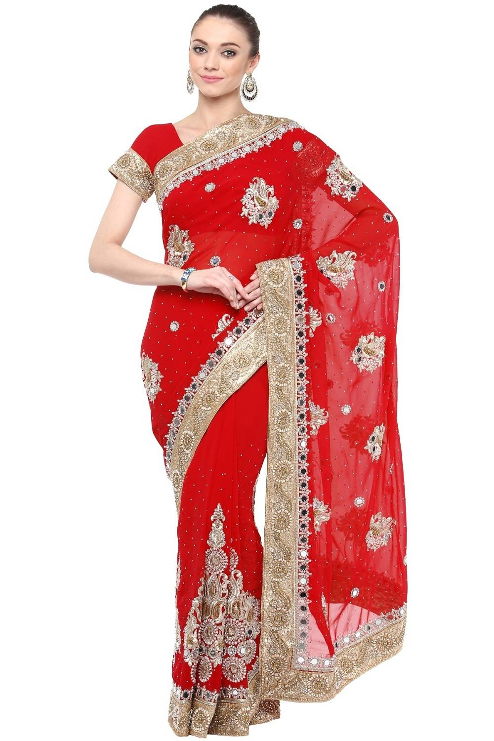Stone Work Faux Georgette Saree (Sari) in Red