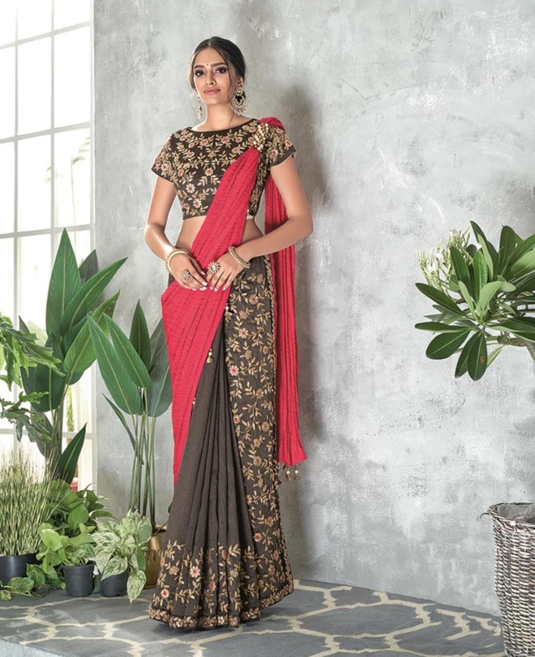 Thread Work Georgette Saree (Sari) in Pink