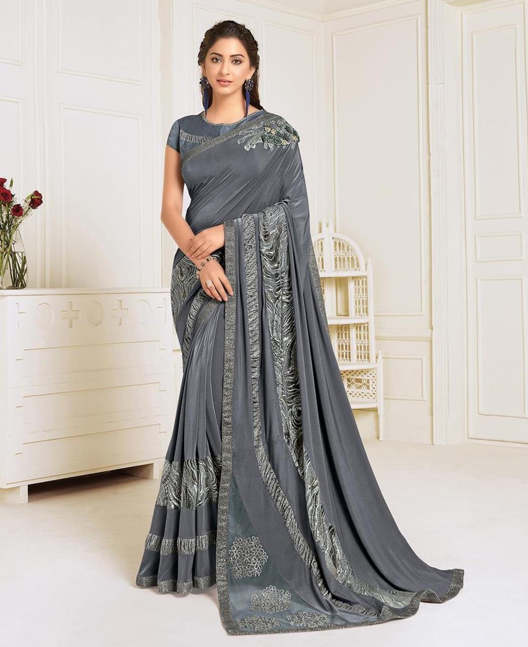 HandWorked Lycra Saree in Grey
