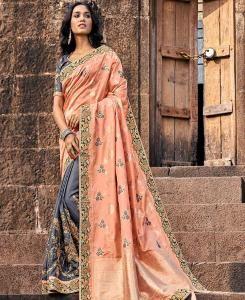 Embroidered Banarasi Silk Saree in Orange