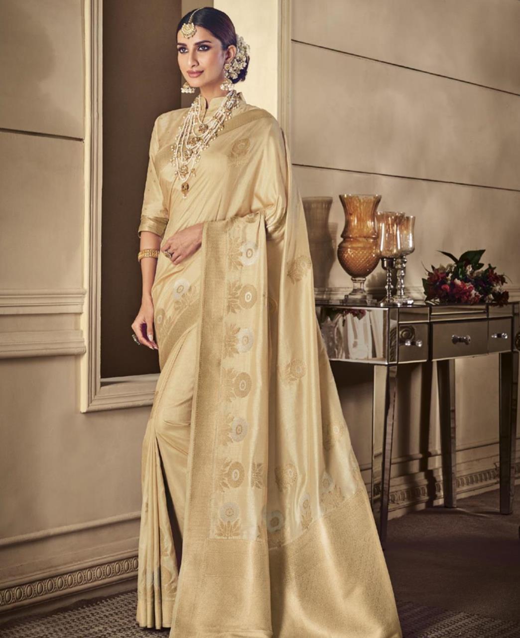 Woven Silk Saree in Beige