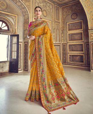 Woven Art Silk Saree in Yellow