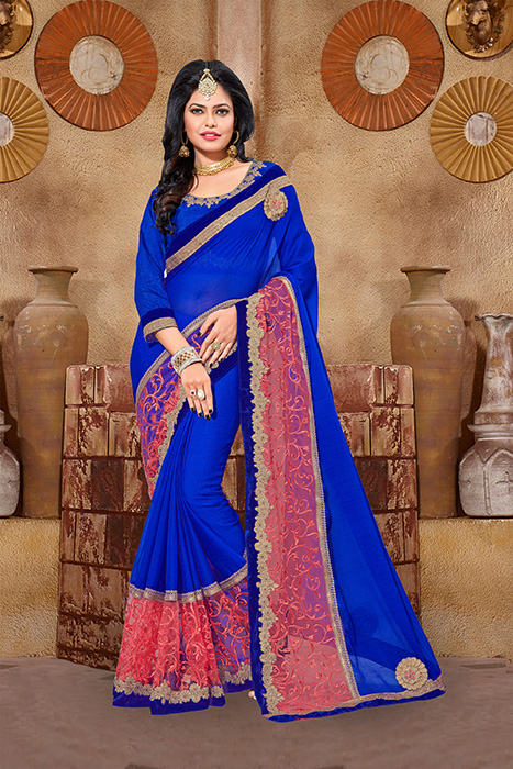 Embroidered Chiffon Saree (sari) in Blue