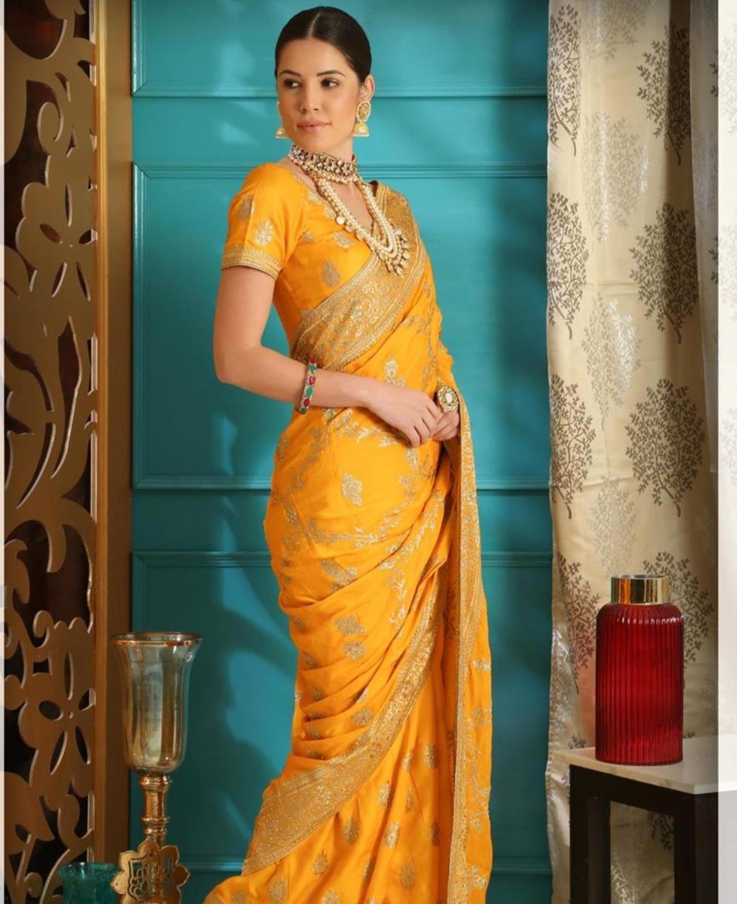 Embroidered Silk Saree (Sari) in Orange