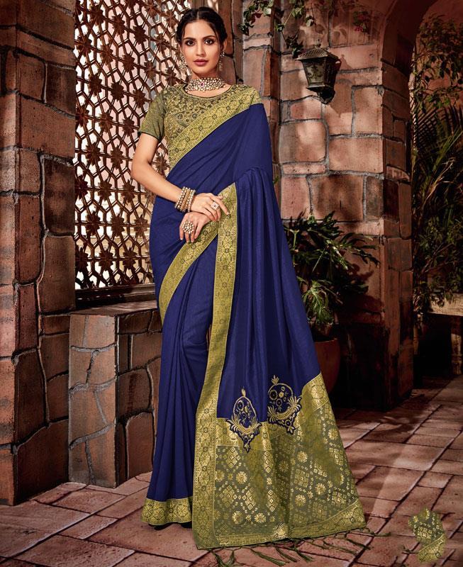Border Work Brocade Saree (Sari) in Blue