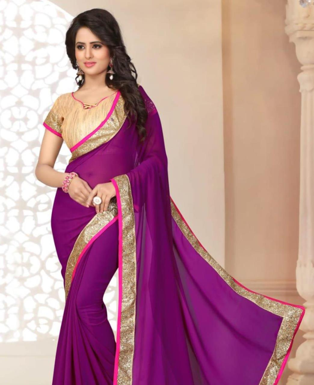Lace Georgette Saree (Sari) in Violet