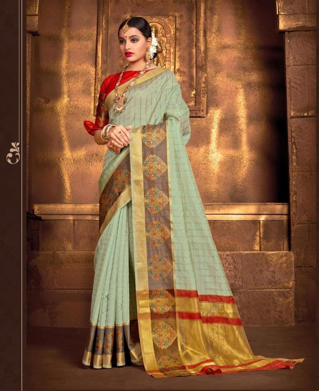 Silk Saree in Pastel Green