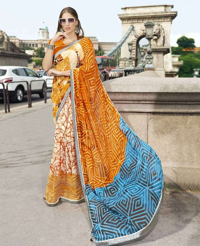 Printed Faux Georgette Saree (Sari) in Orange