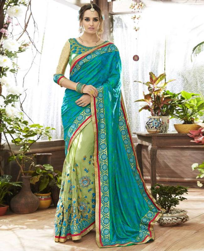 Embroidered Art Silk Net Jacquard Saree (Sari) in SkyBlue