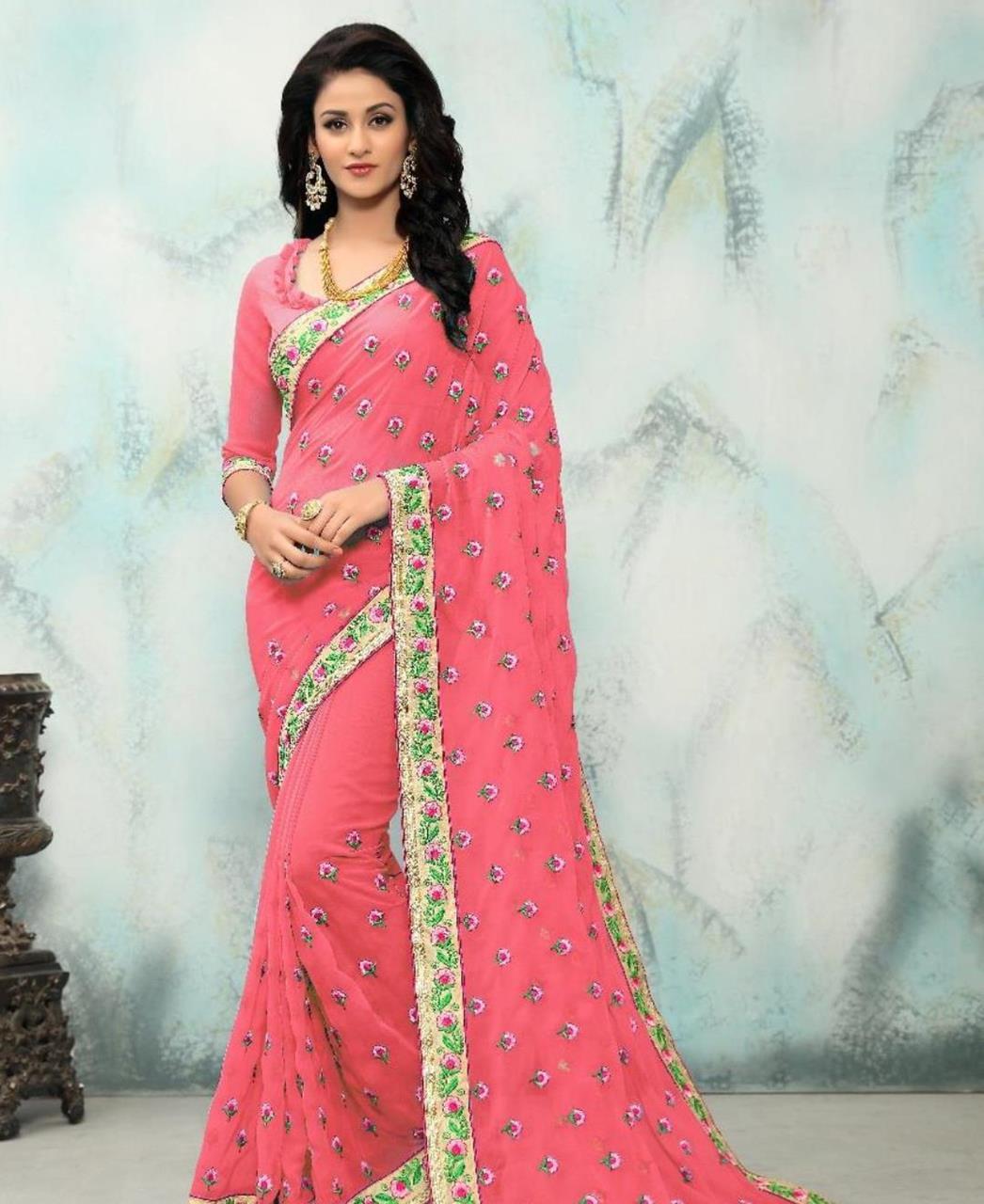 Embroidered Georgette Saree (Sari) in Pink