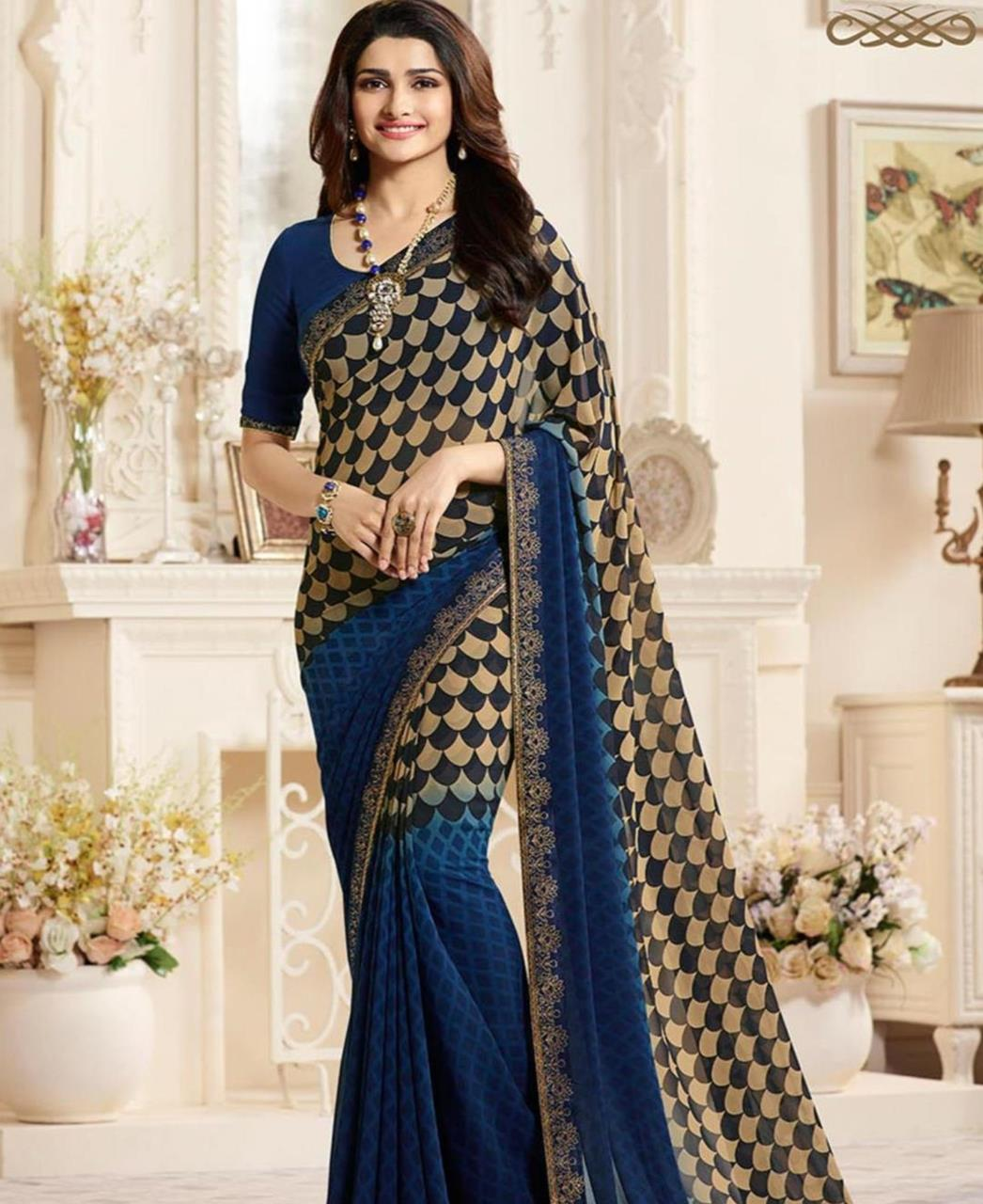 Georgette Saree in Green  ,  Yellow