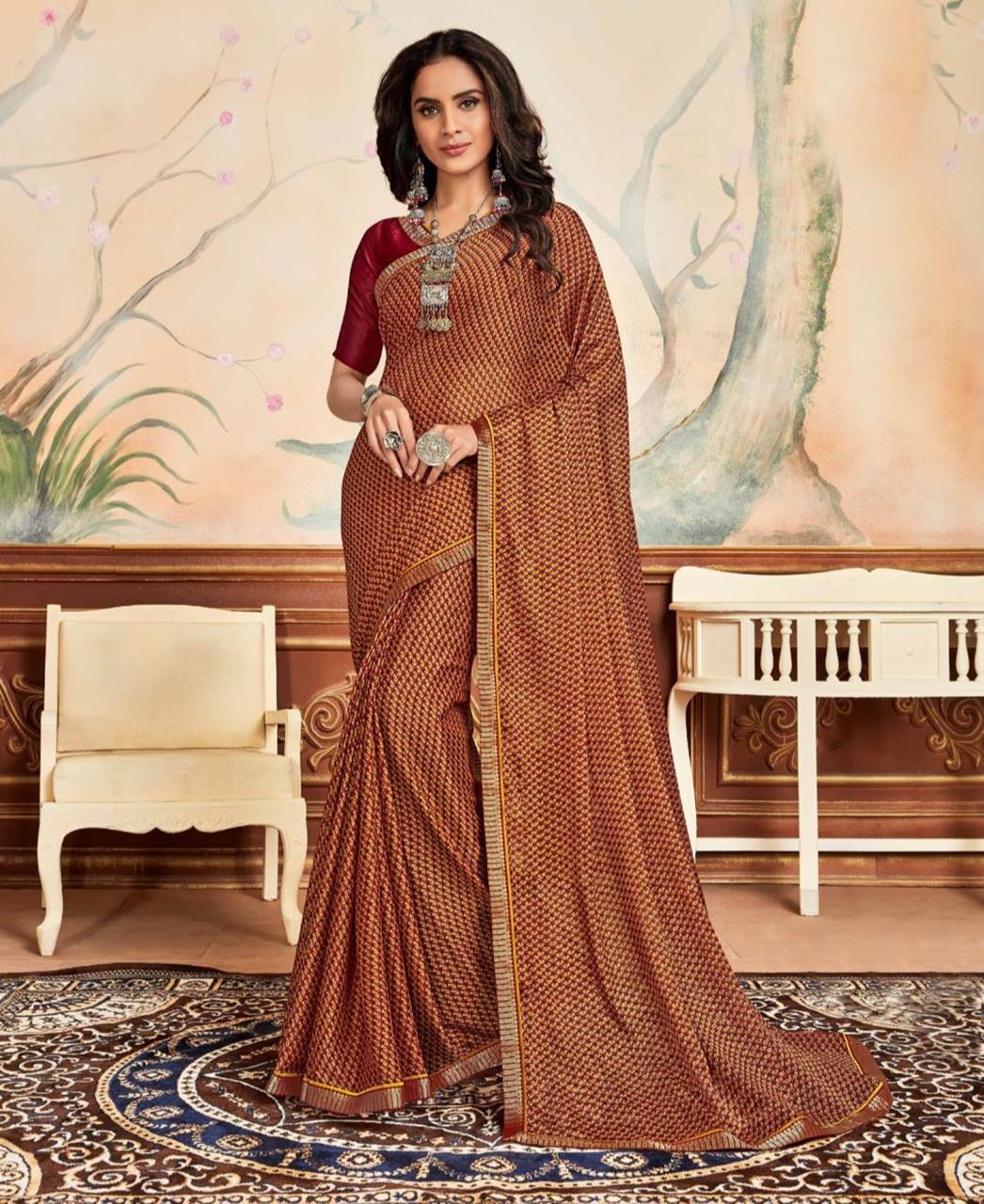Lace Chiffon Saree in Orange