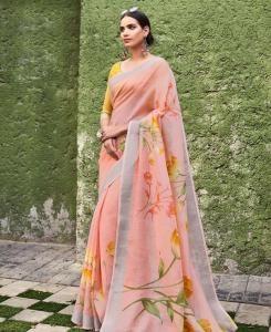 Printed Cotton Saree in Peach