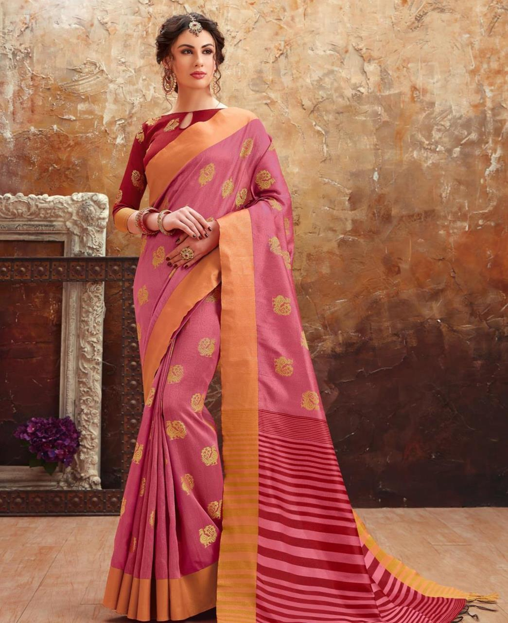 Printed Art Silk Saree (Sari) in LIGHTPINK