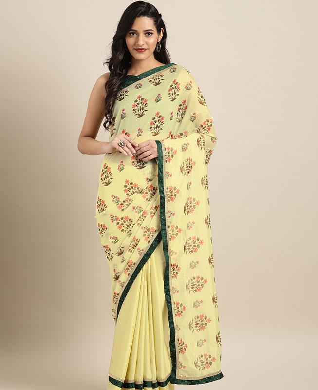 Satin Saree in Yellow