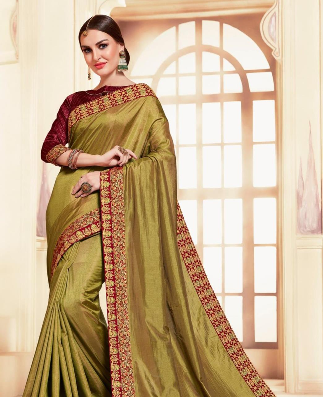 Embroidered Silk Saree in Olive Green