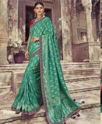 Embroidered Art Silk Saree in SEAGREEN